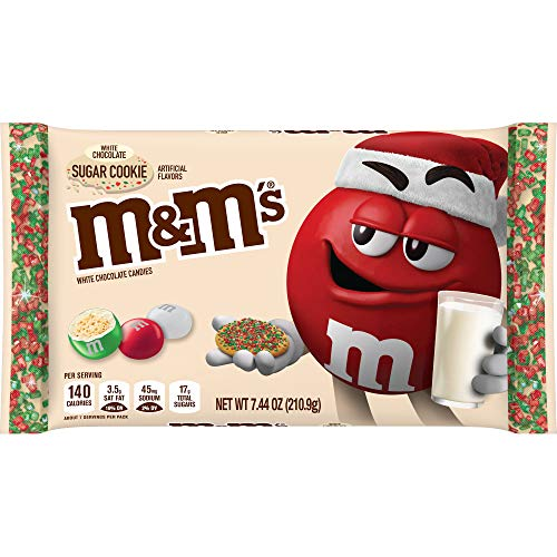 M&M'S Sugar Cookie White Chocolate Candies for The Holidays, 7.44 Oz