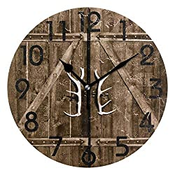 Large Arabic Digital Quartz Movement Clock-Rural Wooden Gate with Antler Handles Round Wall Clock Decorative, Battery Operated Quartz Analog Quiet Desk Clock for Home,Office,School-size9in