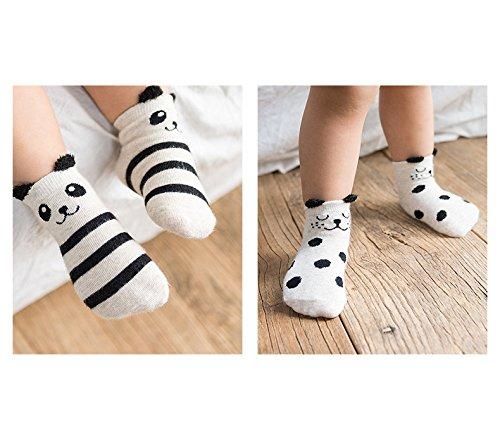 Huluwa Baby Socks 4 Pack Unisex Newborn Cartoon Soft Cotton Socks, Breathable and Anti-Skid, Blue