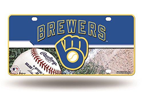 MLB Milwaukee Brewers Metal Auto Tag (Milwaukee Brewers Mlb Car)