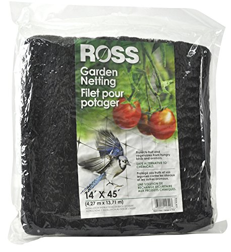 Ross Garden Netting (Multi-Use Netting for Use Around Yard and Garden) Black Mesh Plastic Netting, 14 feet x 45 feet by Ross