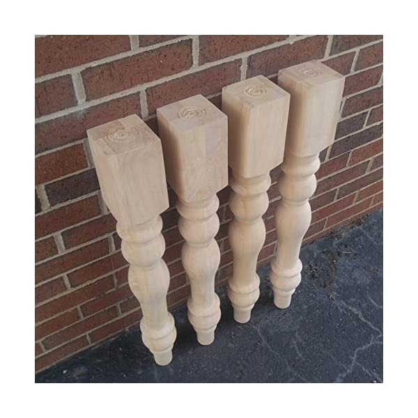 Unfinished Cottage Farmhouse Dining Table Legs- Set of 4 Turned Legs- Design 59 inc