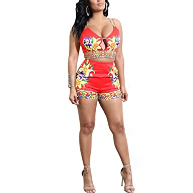 aaf155c7bdb7 Amazon.com  Fadvanes Womens Sexy Two Piece Outfits Bodycon Shorts Set and Floral  Print Strap Crop Top Summer Beach Club Wear  Clothing