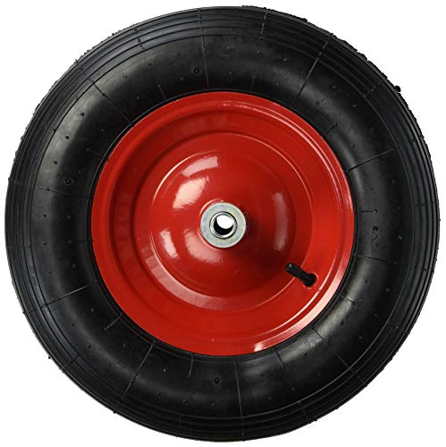 Shepherd Hardware 9606 4 80/4 00-8-Inch Pneumatic Wheelbarrow Tire,  16-Inch, Ribbed Tread, 6-Inch Centered Hub, 5/8-Inch Axle Diameter, Ball  Bearing