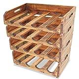 BestHomeFuniture Handmade Solid Reclaimed Wood 4 x Wine Rack for 16 Bottles Holder Storage Shelf