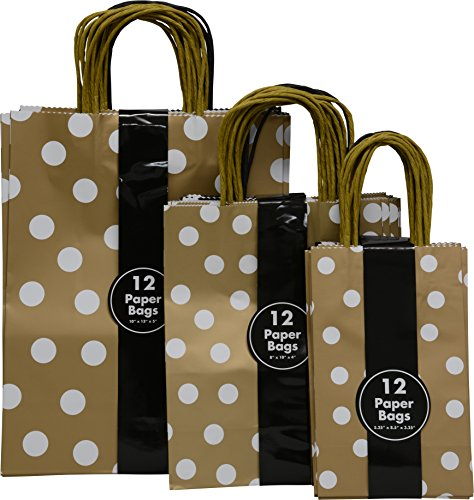 Gold and Black Gift Bags with polka dots, assorted size small medium and large bulk set of 36 bags (Gold and black)