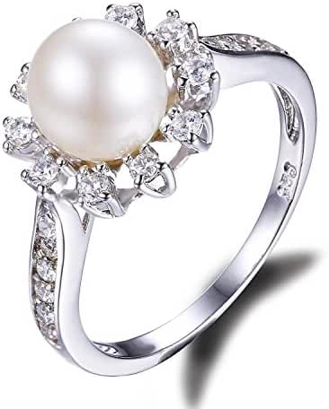 JewelryPalace White 8mm AAA Quality Freshwater Cultured Pearl Ring Snowflake Style 925 Sterling Silver