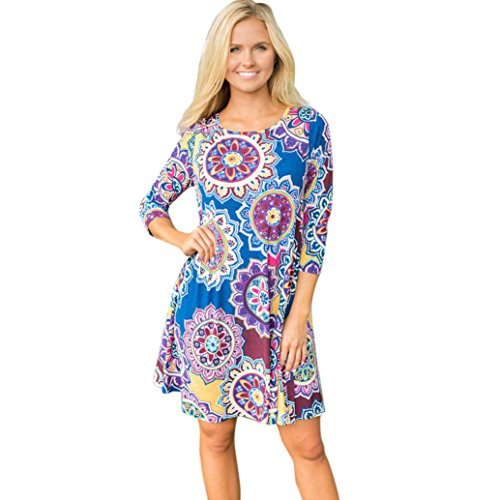 - WYTong Clearance Womens Vintage Printed Boho Dress Long Sleeve Crewneck Mini Dresses for Party Beach (Asian:L, Blue-2)