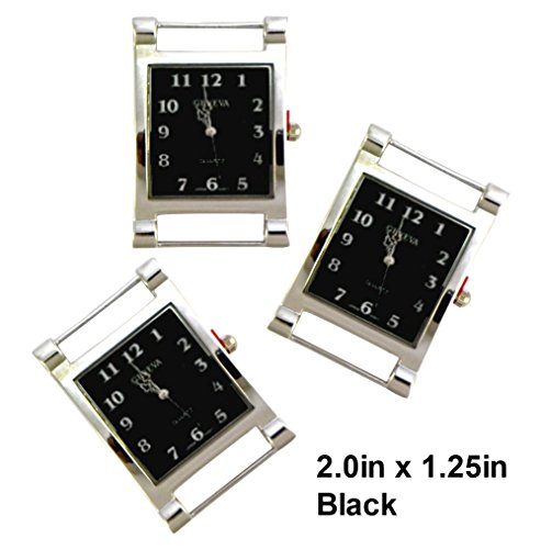 TVT 2pcs Rectangle Watch Faces for Your Interchangeable Beaded Bands TVT-3604 (Black)