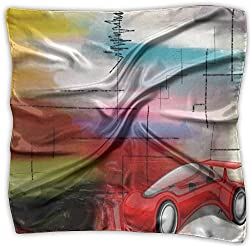 Cool Red Supercar Vector GraphicMs. New Digital Printing Small Square Scarf