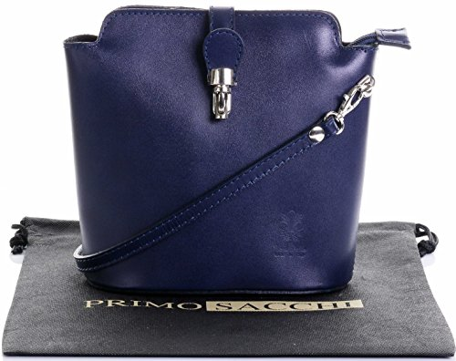 Italian Smooth Navy Blue Leather Hand Made Small Cross Body or Shoulder Bag Handbag. Includes a Branded Protective Storage Bag