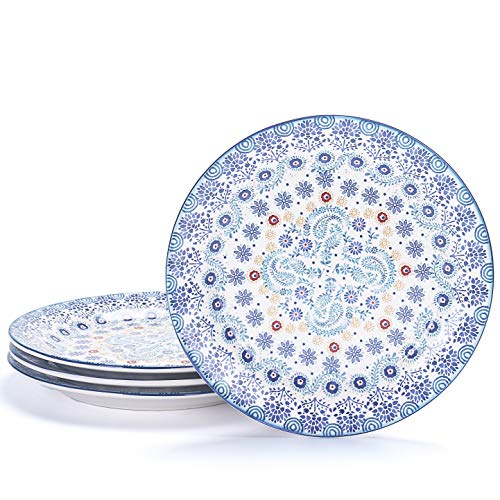 Bico Blue Talavera Ceramic 8.75 inches Salad Plates, Set of 4, for Pasta, Salad, Appetizer, Microwave & Dishwasher Safe, House Warming Birthday Anniversary Gift