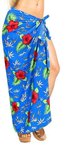 La Leela Likre geometric hibiscus long Sarong pareo Printed Blue_7233 78