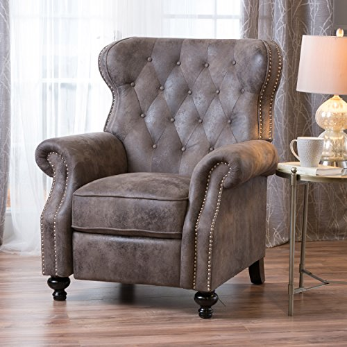 Christopher Knight Home Waldo Tufted Wingback Recliner Chair(Warm Stone), 35.83 x 39.76 x 41.34 (Recliner Nailhead)