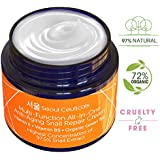 Korean Skin Care Snail Repair Cream Moisturizer - 97.5% Snail Mucin Extract - All In One Recovery Power For The Most Effective Korean Beauty Routine - 2oz