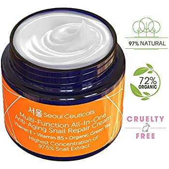 Korean Skin Care Snail Repair Cream - Korean Moisturizer Night Cream 97.5% Snail Mucin Extract - All In One Recovery Power For The Most Effective Korean Beauty Routine - 2oz