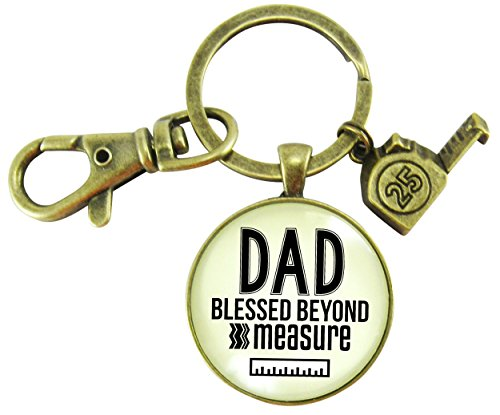Dad Keychain Blessed Beyond Measure Measuring Tape Charm Vintage Style Bronze Glass Key Ring ()