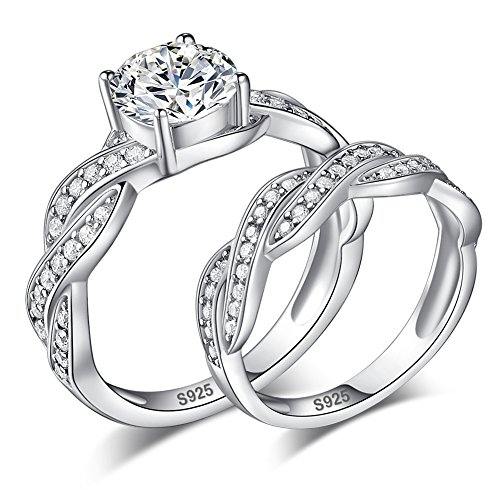 Merthus 925 Sterling Silver Infinity Wedding Ring Sets CZ Anniversary Bands for Women ()