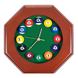 Sangu Urip Very Rare Item Octagonal Wood Billiards Quartz Wall Clock with Pool Ball Numbers