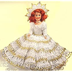 Vintage Crochet PATTERN to make - Fairy Queen Doll Dress 8-inch Pattern. NOT a finished item. This is a pattern and/or instructions to make the item only.