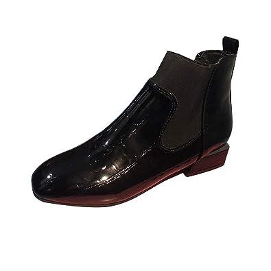 Beikoard Botines Mujer,Mujeres Cuadradas Dedo del Pie Grueso Talón En Botas Casual Charol Shoes Zapatos,Pies Cuadrados Gruesos Talón Charol Botas De Cuero: ...