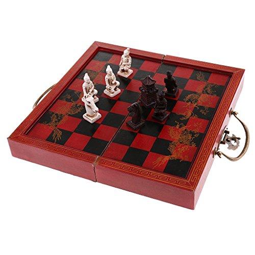 KOZEEY ヴィンテージ 中国 テラコッタの戦士 チェス セット 家族 友人 贈り物 の商品画像