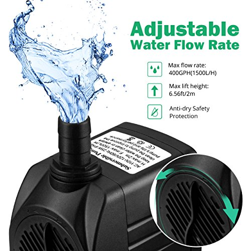 Homasy-Upgraded-400GPH-Submersible-Water-Pump-With-48-hours-Dry-Burning-25W-Fountain-Water-Pump-with-59ft-Power-Cord-for-Aquarium-Pond-Fish-Tank-Water-Pump-Hydroponics