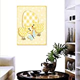 """Anyangeight Baby Modern Canvas Painting Wall Art Abstract Chick Design Plaid Pattern Butterfly Giant Egg Funny Artwork Wall Decor 24""""x36"""" Yellow Pale Yellow Pale Blue"""