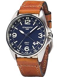 T25 Blue GMT Pilot Wrist Watch | 41mm - Vintage Leather Strap | Spphire Crystal