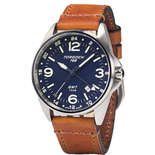 Torgoen T25 Blue GMT Pilot Wrist Watch | 41mm - Vintage Leather Strap | Spphire Crystal