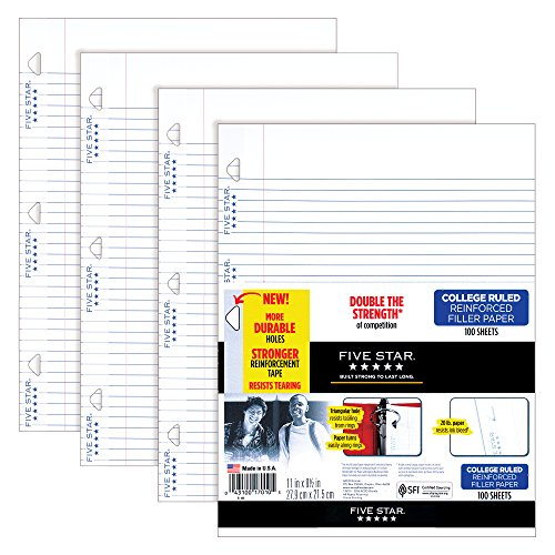 Five Star Loose Leaf Paper, 3 Hole Punched, Reinforced Filler Paper, College Ruled, 11