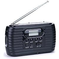 iRonsnow IS-023 Emergency Solar Hand Crank radio Dynamo 2500mAh Flashlight, TF Card Speaker, Automatic Scan and Storage Channel, Idea for Camping Travel Hurricane Blackout, LED Screen FM/AM (Black)