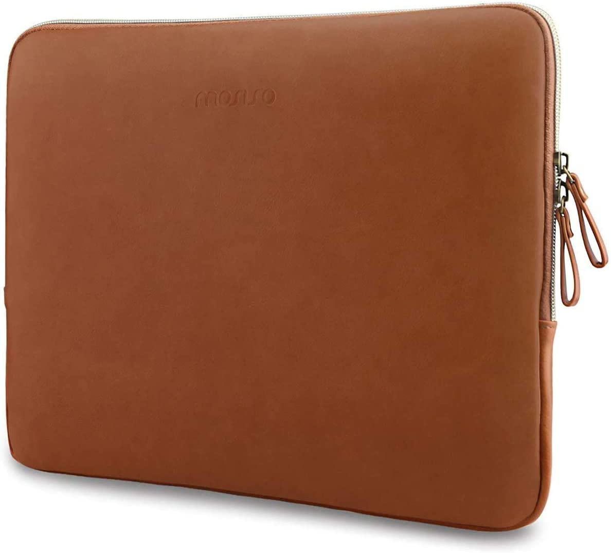 MOSISO Laptop Sleeve Compatible with 13-13.3 Inch MacBook Air/MacBook Pro Retina/2019 2018 Surface Laptop 3/2/Surface Book 2, PU Leather Super Padded Bag Waterproof Protective Case, Brown