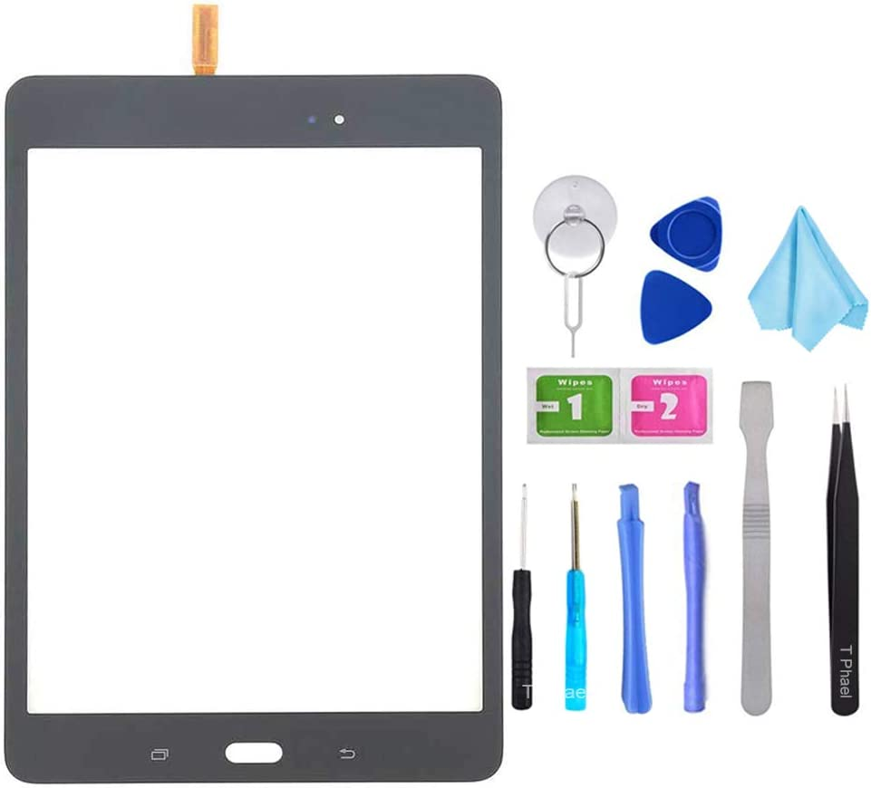 Black Touch Screen Digitizer Glass Replacement for Samsung Galaxy Tab A 8.0 SM-T350 T350 (Not Include LCD) with Tools + Pre-Installed Adhesive
