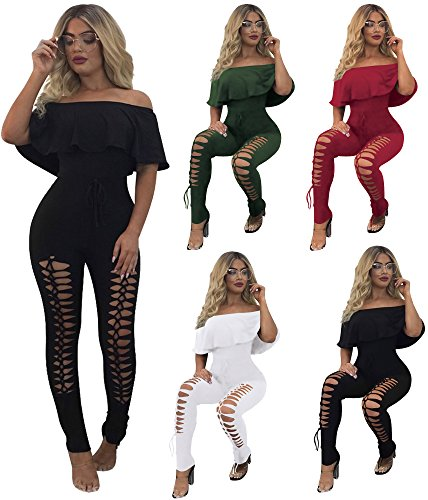 PRETTYGARDEN Off Shoulder Sleeve Hollow Out Sexy Women Bodycon Long Jumpsuit Rompers (Large, Off Shoulder Black) by PRETTYGARDEN (Image #4)