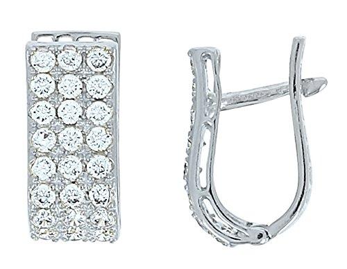 moitié prix regarder choisir authentique Boucles d'Oreilles Or Blanc Et Zirconiums 18 carats Jeu Ebay ...