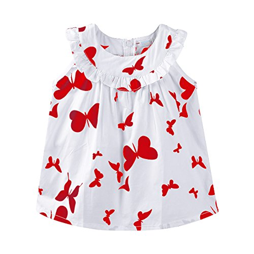 Mud Kingdom Little Girl Dress Summer Holiday Butterfly Size 5 Red