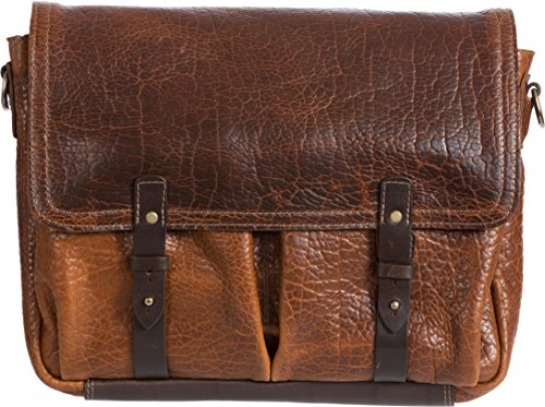 American Bison Leather Messenger Briefcase with Concealed Carry Pocket by Overland Sheepskin Co