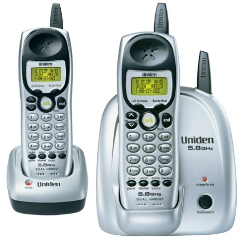 Uniden DXI5186-2 5.8 GHz Analog Cordless Phone with Dual Handsets and Caller ID - Caller Cordless Id Ghz Phone