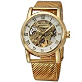 Mesh Band Golden Mens Skeleton Automatic Mechanical Roman Numerals White Dial Wrist Watch + Gift Box