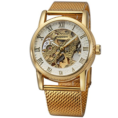 Mesh Band Golden Mens Skeleton Automatic Mechanical Roman Numerals White Dial Wrist Watch + Gift Box (Skeleton Dial)