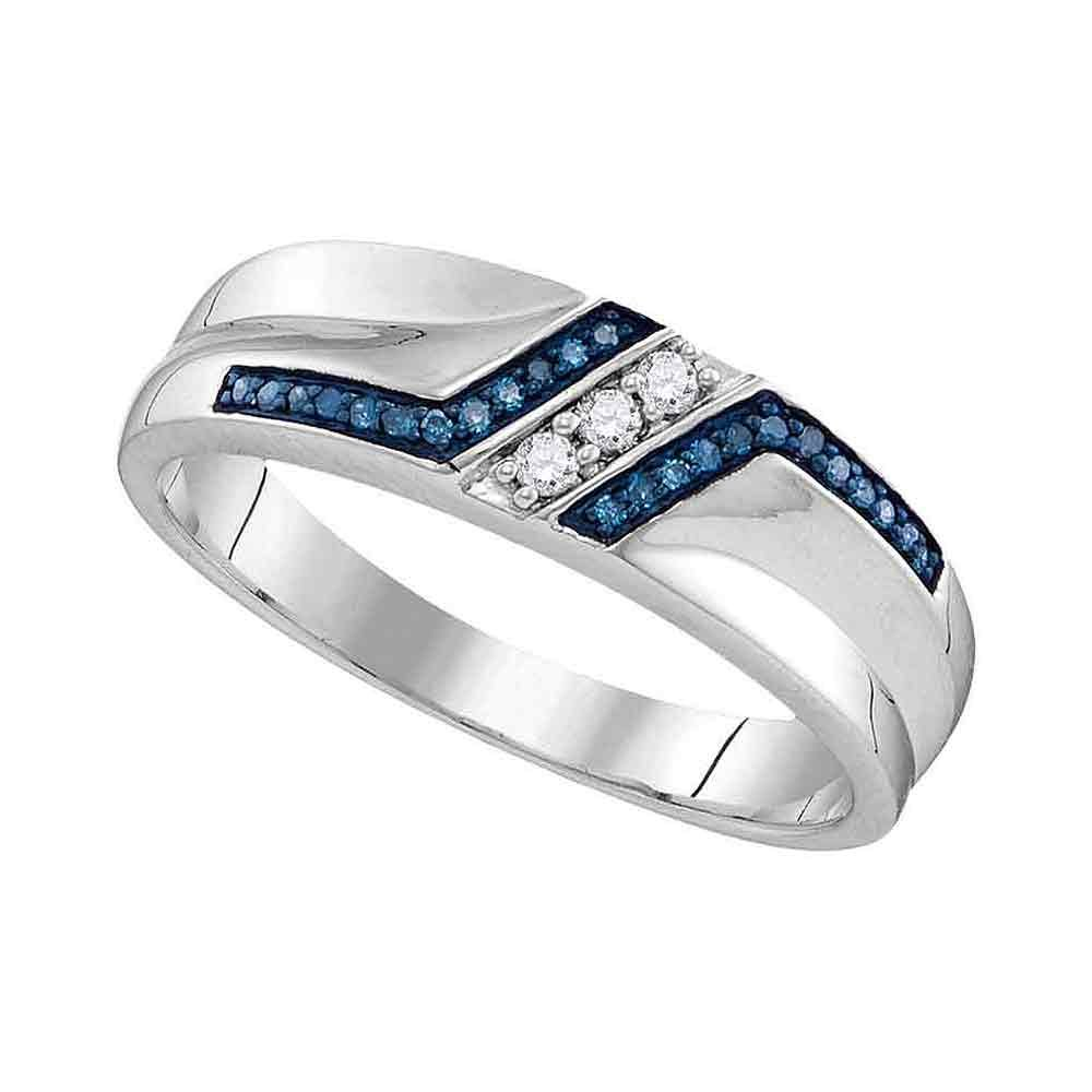 Sterling Silver Ring Mens Blue Diamond Wedding Band Round Pave Set Three Row Fashion Style Fancy 1/5 ctw Size 11