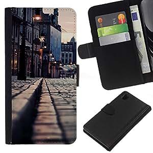 NEECELL GIFT forCITY // Billetera de cuero Caso Cubierta de protección Carcasa / Leather Wallet Case for Sony Xperia Z1 L39 // Medievil City