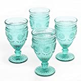 The Pioneer Woman 12 Ounce Turquoise Elegant Embossed Pressed Footed Goblet Wine Glass (Set of 4)