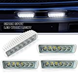 "SPEAD-VMALL LED Light Bar 4PCS Spot 6"" inch 18W Straight DRL Driving Fog Lights Grill Reverse Hidden Bumper Offroad light for Truck Jeep Boat Motorcycle Golf Cart ATV SUV Snowblower Trailer Off-Road"