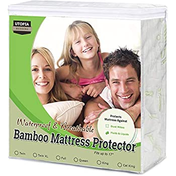 Utopia Bedding Bamboo Mattress Protector - 100% Waterproof - Mattress Cover (Queen)