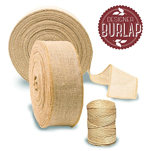 """(Burlap Ribbon Roll 3"""" by 50 Yards with Bonus Twine