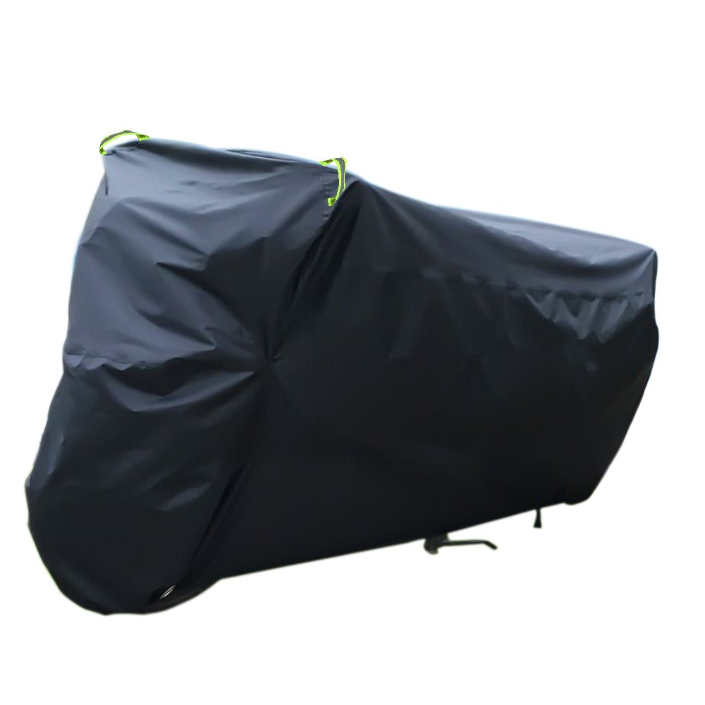 Awnic Waterproof Motorcycle Cover Motorbike Cover 210T Taffeta with Anti-UV Coating Anti-theft Keyhole Night Protective Reflective Bands -Black/Silver AwnicStore