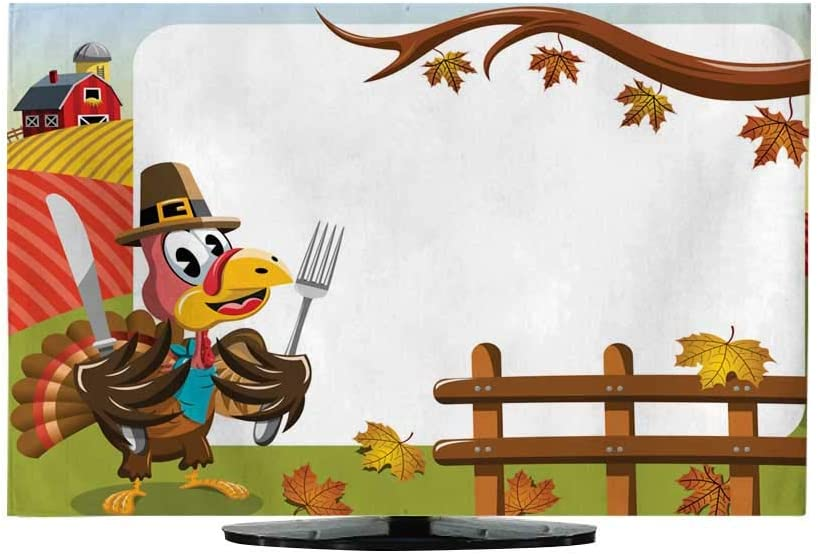 Funda de TV para Exterior con Marco Horizontal para día de Acción de Gracias, peregrino, Rifle de Pavo enfadado: Amazon.es: Electrónica