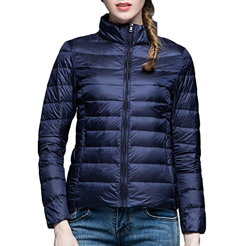 Piumino Rivestimento Bmeigo Inverno Thin Casual Stand Collar Donna Slim Navy Giacche Giacca TaUTqO
